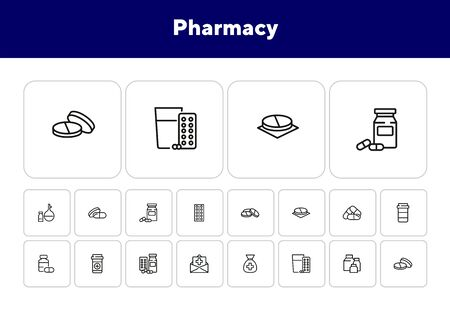 Pharmacy icon set. Drugstore concept. Vector illustration can be used for topics like apothecary, pharmaceuticals, medicine Ilustração