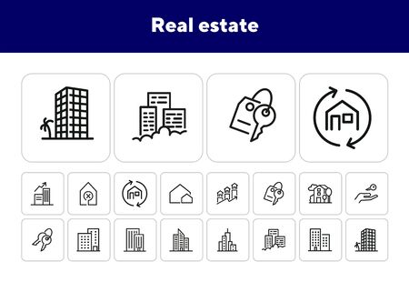 Real estate icons. Set of line icons. Apartment houses, big city, house. Immovable property concept. Vector illustration can be used for topics like urban construction, town planning Ilustrace