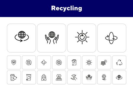 Recycling line icon set. Beer, opener, barrel. Ecology concept. Can be used for topics like environment protection, sustainable policy, zero waste Çizim