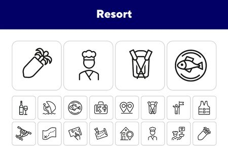 Resort line icon set. Rafting, kayaking, map, itinerary, restaurant. Vacation concept. Can be used for topics like sport water activities, adventure tourism, leisure Ilustrace