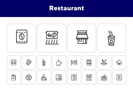 Restaurant icons. Set of line icons on white background. Menu, coffee maker, course, client. Cafe concept. Vector illustration can be used for topics like food, catering, service Archivio Fotografico - 138047576