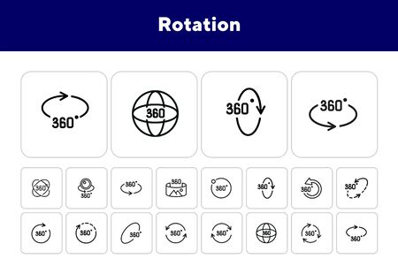 Rotation line icon set. Set of line icons on white background. Geometry and design concept. Rotation, arrow, three hundred and sixty degree. Vector illustration can be used for topics like geometry