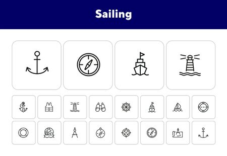 Sailing line icon set. Ship, anchor, compass. Travel concept. Can be used for topics like cruise, marine navigation, nautical Ilustrace