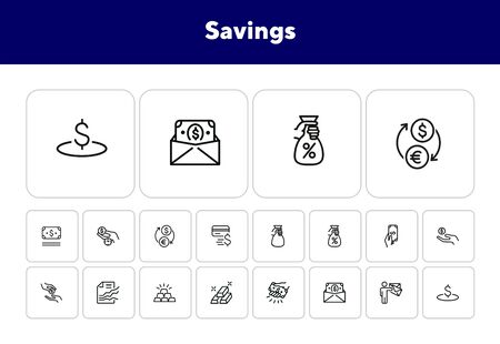 Savings line icon set. Deposit, cash, gold bars. Finance concept. Can be used for topics like banking, investment, money 일러스트