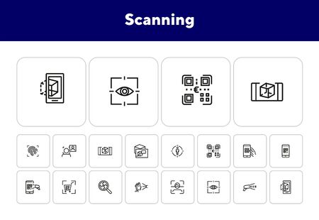 Scanning line icon set. Barcode, eye, face, QR. Technology concept. Can be used for topics like equipment, identification, recognition