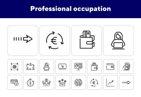 Professional occupation icons. Set of line icons. Wallet, virtual credit card, work cycle.Workflow concept.Vector illustration can be used for topics like business process,everyday routine,office life