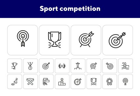 Sport competition line icon set. Set of line icons on white background. Target, arrow, pool. Winning concept. Vector illustration can be used for topics like sport, Olympic games