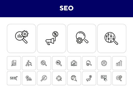 SEO line icon set. Buy button, discount announcement, but button. Business concept. Can be used for topics like optimization, marketing, ecommerce