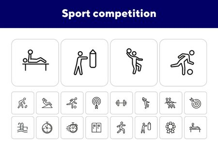 Sport competition icons. Set of line icons. Gym lockers, barbell, swimming pool. Sports activity concept. Vector illustration can be used for topic like professional sport, physical activity, training Stock fotó - 138062035