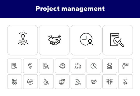 Project management line icon set. Handshake, team, interview. Business concept. Can be used for topics like leadership, teamwork startup