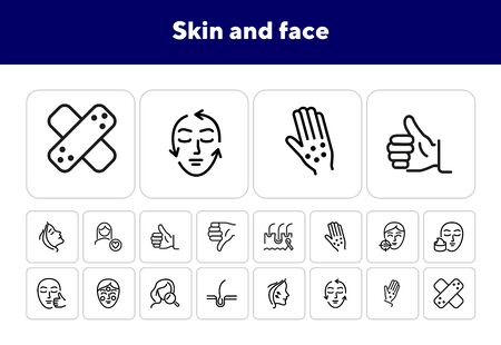 Skin and face line icon set. Woman, rash, hair follicle, cream, acne. Skin care concept. Can be used for topics like cosmetics, beauty salon, dermatology Illustration
