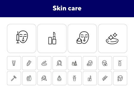 Skin care line icon set. Injection, lipstick, manicure. Beautician concept. Can be used for topics like beauty salon, makeup, cosmetology Illustration