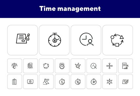Time management line icon set. Clock, watch, stopwatch. Business concept. Can be used for topics like deadline, planning, startup