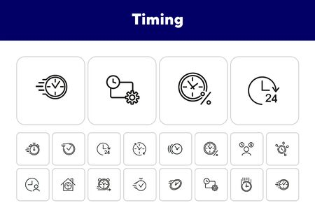 Timing line icon set. Clock, watch, percentage, stopwatch. Time concept. Can be used for topics like loan, mortgage, time is money Banco de Imagens - 138187986