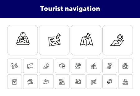 Tourist navigation icon set. Travel concept. Vector illustration can be used for topics like cruise, journey, holiday Иллюстрация