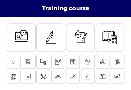 Training course line icon set. Cabin, test, graduation cap. Education concept. Can be used for topics like university, school supplies, college Ilustrace