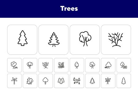 Trees line icon set. Fir tree, forest, palm. Nature concept. Can be used for topics like park, country, plant