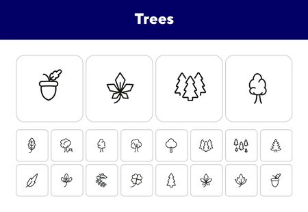 Trees line icon set. Park, forest, leaf, plant, flora. Nature concept. Can be used for topics like hiking, reserve, environment