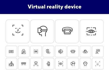 Virtual reality device line icon set. Virtual reality glasses, programming, vr game. Technology concept.Vector illustration can be used for topics like progress, technology, entertainment