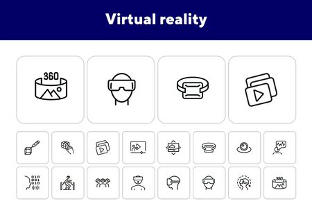 Virtual reality line icon set.Virtual reality glasses, programming, vr game. Technology concept.Vector illustration can be used for topics like progress, technology, entertainment Illustration