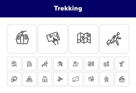 Trekking line icon set. Map, tourist, itinerary. Activity concept. Can be used for topics like hiking, navigation, tourism, active lifestyle