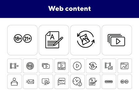 Web content line icon set. Video file, adult content, email. Media content concept. Can be used for topics like internet, digital marketing, movie watching Archivio Fotografico - 138188053