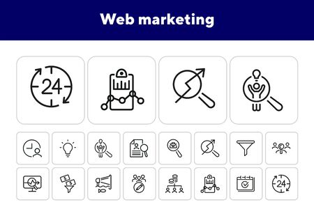 Web marketing line icon set. Announcement, idea, target audience, money filter. Business concept. Can be used for topics like SEO, internet advertising, analysis Illusztráció