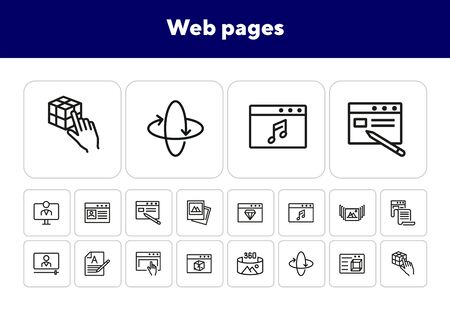 Web pages line icon set. Website, browser window, landing, monitor. Communication concept. Can be used for topics like internet, website design, application development Illusztráció