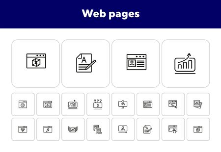 Web pages line icon set. Copywriting, webinar, landing. Internet concept. Can be used for topics like connection, website design, media content Archivio Fotografico - 138188057