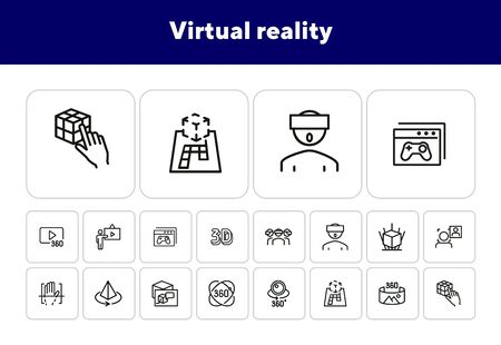 Virtual reality line icon set. Helmet, panorama, camera. Modern technology concept. Can be used for topics like augment reality, artificial intelligence, entertainment Archivio Fotografico - 138188062
