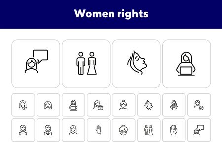 Women rights line icon set. Girl, woman, pair. Sociality concept. Vector illustration can be used for topics like human rights, social, girl power Vettoriali