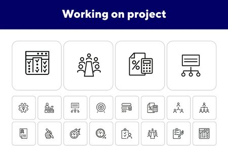 Working on project line icon set. Capital, team, deadline, meeting. Business concept. Can be used for topics like startup, investment, teamwork, loan
