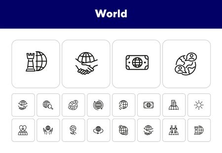 World line icon set. Partnership, trade, planet care. Globe concept. Can be used for topics like travel, global business, networking Archivio Fotografico - 138188131