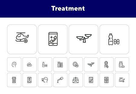 Treatment line icon set. Pills, online doctor, inhaler. Healthcare concept. Can be used for topics like medical consulting, service, urgent help