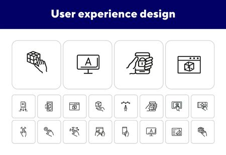 User experience design line icon set. Computer, hand, gadget. App concept. Can be used for topics like interface, software developer, information