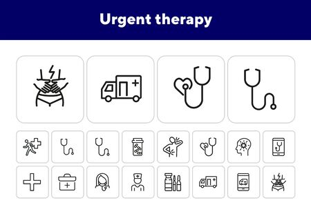 Urgent therapy line icon set. Ambulance car, stethoscope, pain. Medicine concept. Can be used for topics like emergency, first aid, medical help
