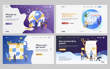 Set of managers analyzing financial strategy. Flat vector illustrations of business people drawing up report. Development, analytics concept for banner, website design or landing web page Vektoros illusztráció