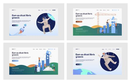 Launching rocket set. Astronaut floating in outer space, building bar chart with shuttle. Flat vector illustrations. Startup, research, cosmos concept for banner, website design or landing web page