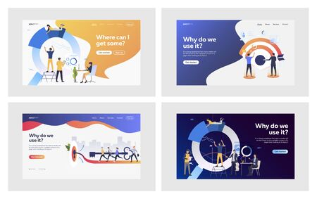 Business goal set. Business people hitting target, making diagram together. Flat vector illustrations. Teamwork, strategy, cooperation concept for banner, website design or landing web page