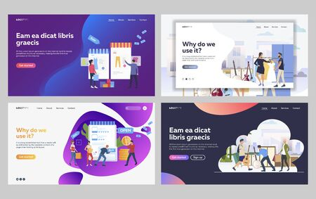 Set of musicians buying clothes for music concert. Flat vector illustrations of customers shopping online. Music performance, online shopping concept for banner, website design or landing web page