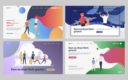 Set of family spending holidays together. Flat vector illustrations of couple on romantic date. Family leisure activities, romantic relationship concept for banner, website design or landing web page Иллюстрация