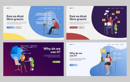 Set of stressed employees overworking and failing tasks. Flat vector illustrations of secretaries making report. Overworking, secretary routine concept for banner, website design or landing web page