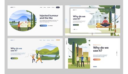 Set of people spending leisure time in nature parks. Flat vector illustrations of friends searching places on map. Parks, recreations, travelling concept for banner, website design or landing web page