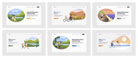 Set of travelling people on vacation. Flat vector illustrations of men and women walking and cycling outdoors. Nature and active rest concept for banner, website design or landing web page Illustration