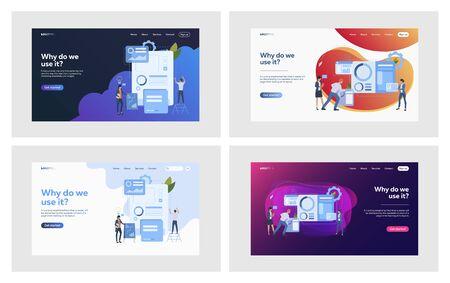 Professionals making infographics set. Interactive graphs, solution, parts. Flat vector illustrations. Business, presentation, teamwork concept for banner, website design or landing web page