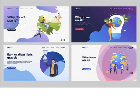 Set of people creating green environment. Flat vector illustrations of people managing international project. Ecology, international business concept for banner, website design or landing web page