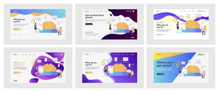 Set of business reports via technology. Flat vector illustrations of men and women using computer. Business technology and software concept for banner, website design or landing web page Ilustración de vector