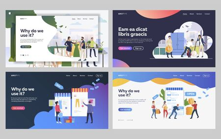 Set of musicians getting ready for performance. Flat vector illustrations of customers shopping online. Music performance, online shopping concept for banner, website design or landing web page Vettoriali