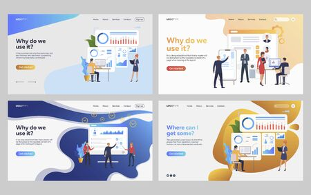 Set of business people analyzing charts and profiles. Flat vector illustrations of managers discussing candidates. Analytics, recruitment concept for banner, website design or landing web page