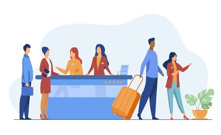 Friendly receptionists from hotel registration desk help client vector illustration. People waiting in queue for consultation. Concierge talking with traveler concept for presentation slides